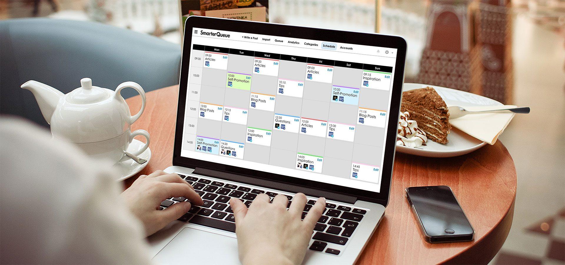 SmarterQueue's time-saving scheduler will help you reach the golden content ratio
