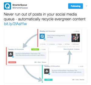 Tweet showing evergreen content