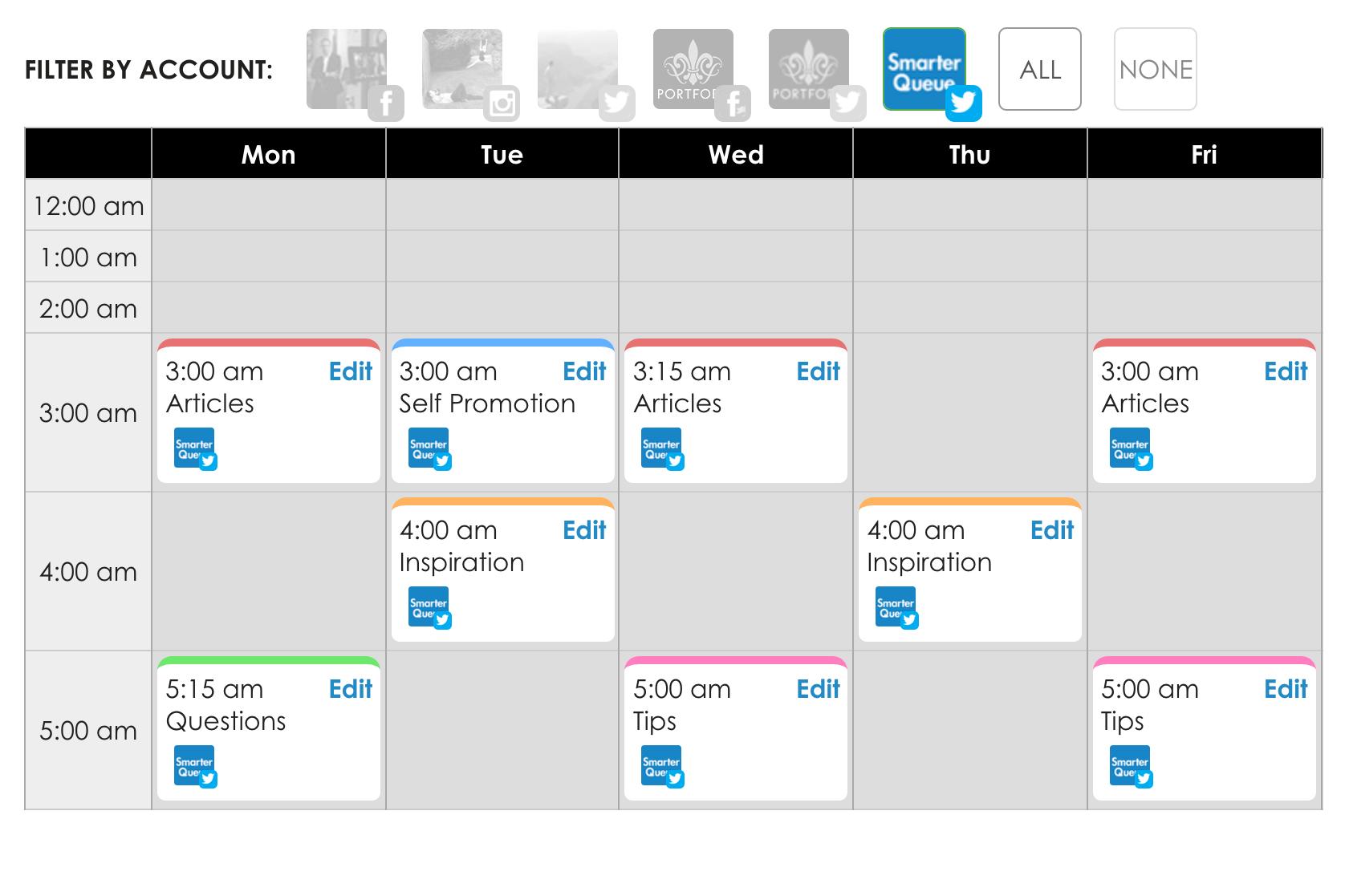 SmarterQueue's content calendar