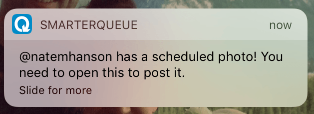 Notification for scheduled Instagram posts with SmarterQueue on iPhone