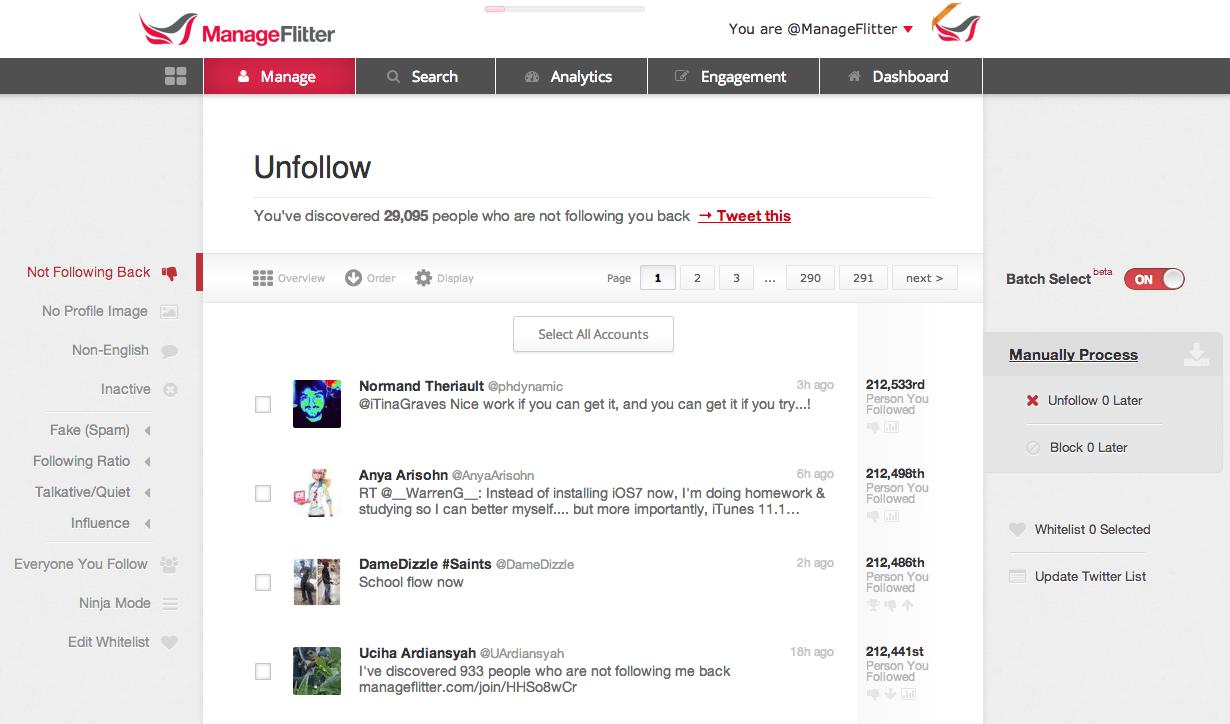 Free social media tool: ManageFlitter