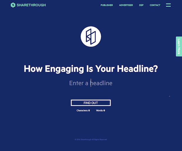Sharethrough engaging headline tool