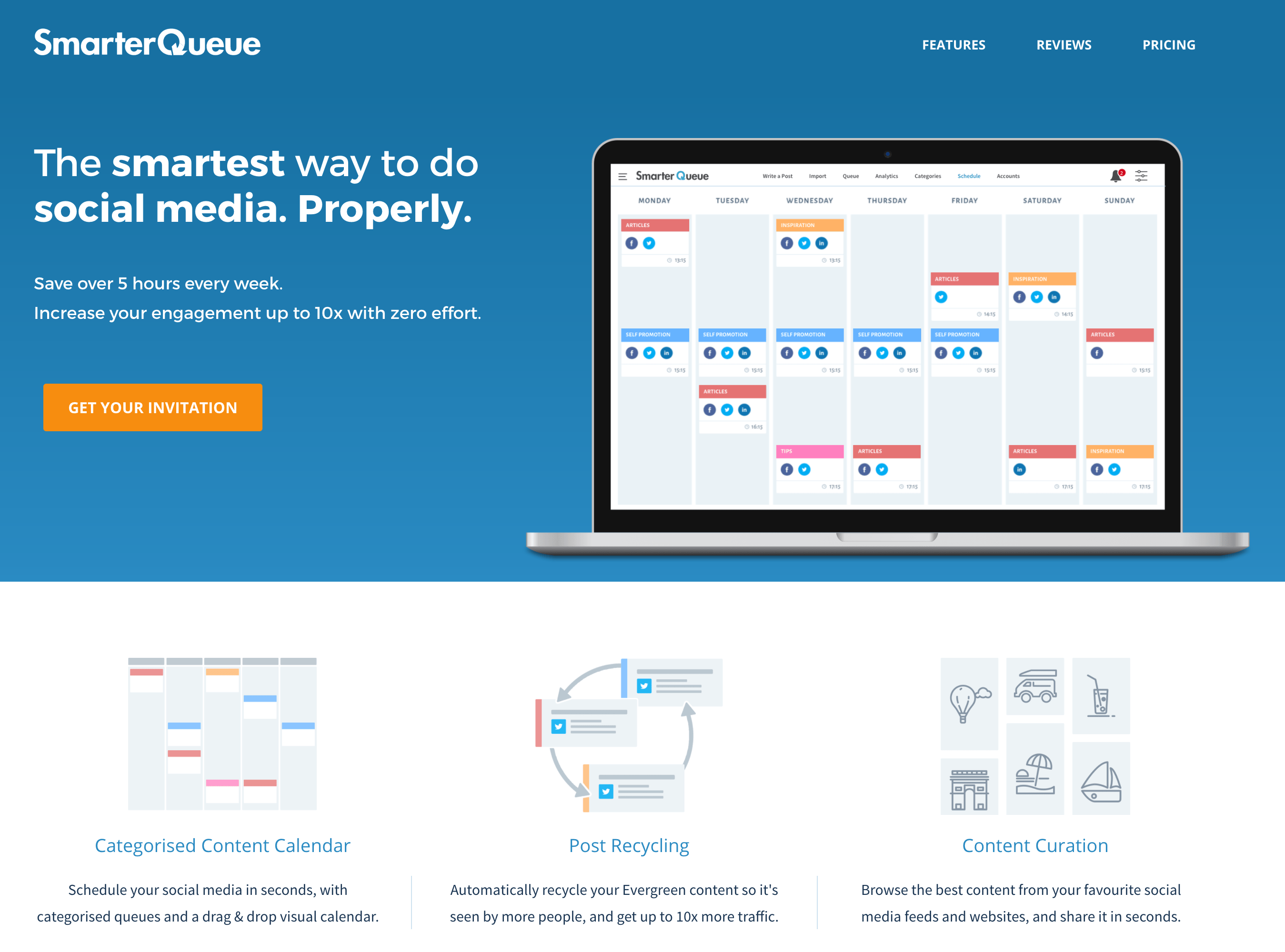 SmarterQueue beta landing page 2016 - the smartest way to do social media. properly