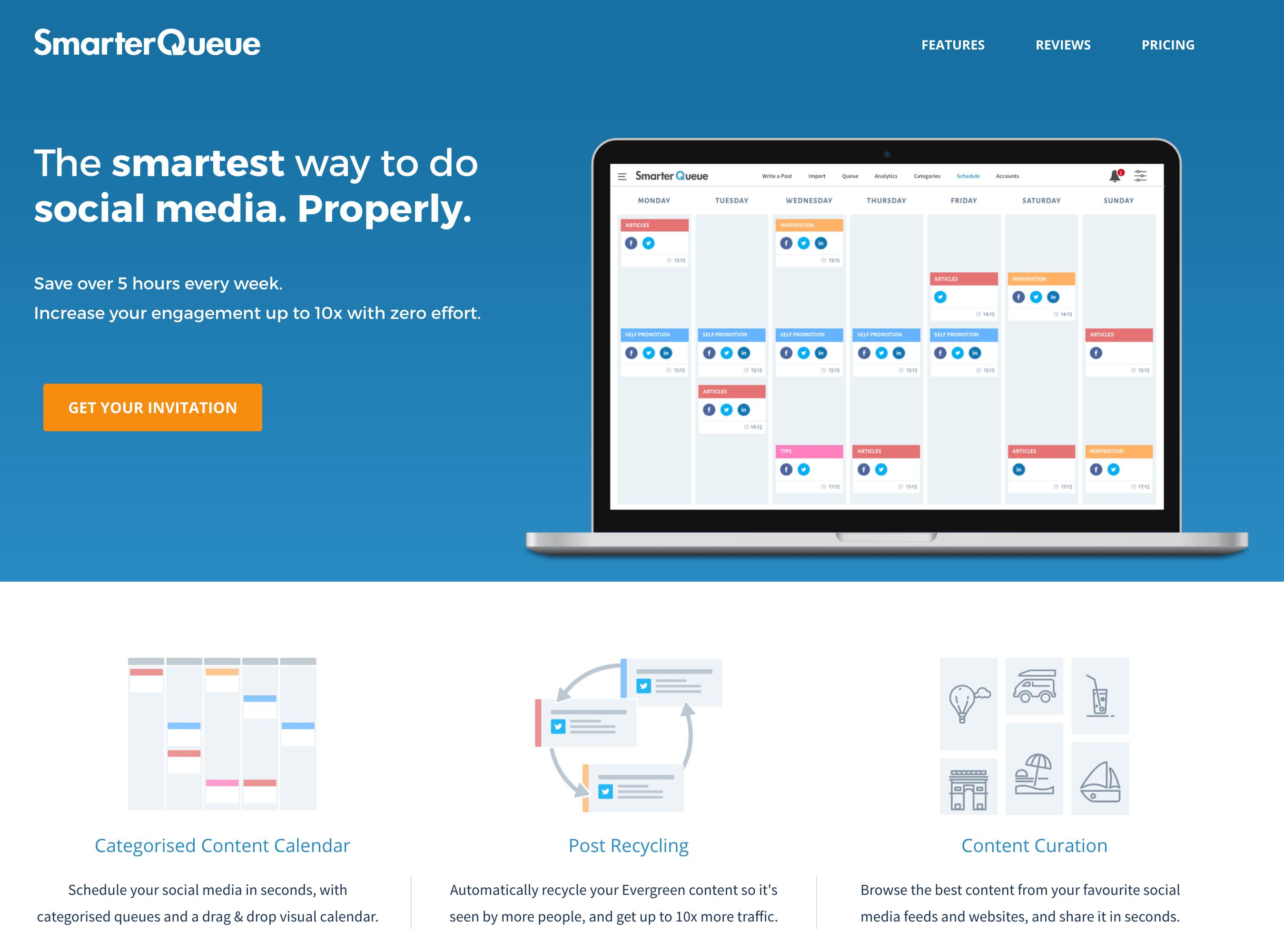SmarterQueue beta landing page 2016 - the smartest way to do social media. properly